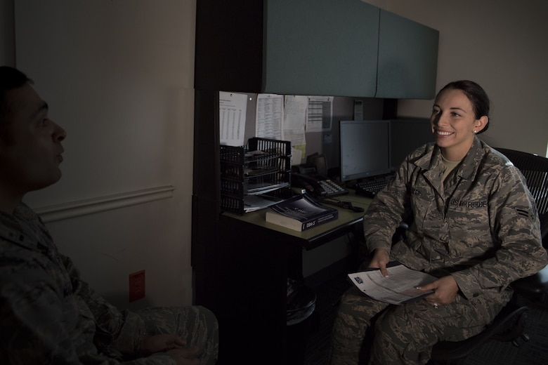 Airman 1st Class Kelly Dyer, 23d Medical Operations Squadron mental health technician, simulates assessing a patient, Jan. 19, 2018, at Moody Air Force Base, Ga. The Biomedical Science Corps became the most diverse corps in the Air Force Medical Services when the Chief of Staff of the Air Force signed a special order on Jan. 28, 1965. (U.S. Air Force photo by Senior Airman Daniel Snider)