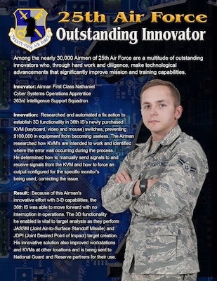 Airman 1st Class Nathaniel, a cyber systems operations apprentice, researched and automated a fix action to establish 3D functionality in 36 IS's newly purchased KVM (Keyboard, Video and Mouse) switches.