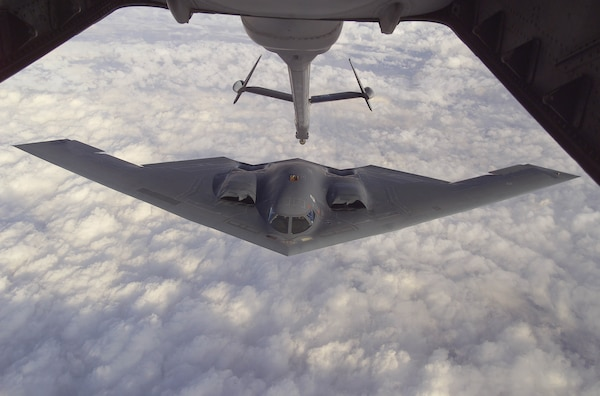 B-2 Stealth Bomber conducts refueling