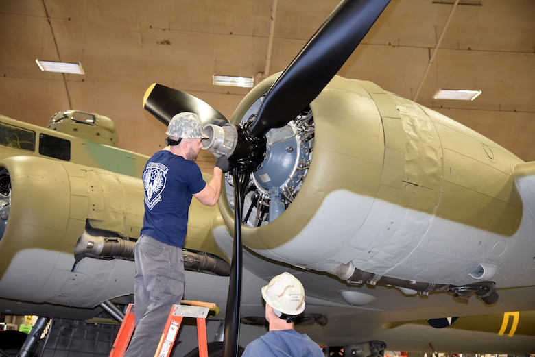 (01/23/2018) -- National Museum of the U.S. Air Force restoration crews installing propeller number one on the Boeing B-17F Memphis Belle™. Plans call for the aircraft to be placed on permanent public display in the WWII Gallery here at the National Museum of the U.S. Air Force on May 17, 2018. (U.S. Air Force photo by Ken LaRock)
