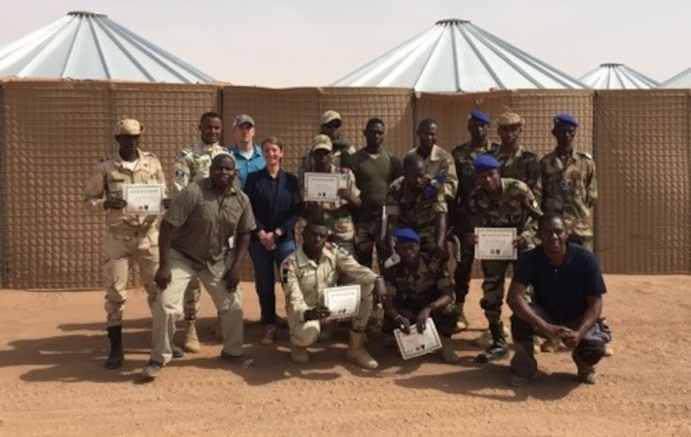 Participants display their certificates after successfully completing the inaugural DTAMS in Niger conducted by the AFOSI 25 EFIS Dec. 11-14 and 19-22, 2017. (Photo submitted by SA Helen Marino)