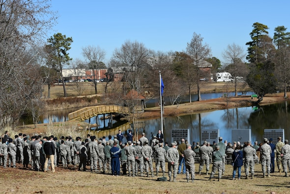U.S. Airmen, Soldiers and the family members of late Col. Charles C. Heckel, a World War II prisoner of war, gather to recognize his sacrifices during a Prisoner of War Medal presentation ceremony at Shaw Air Force Base, S.C., Jan. 19, 2018.