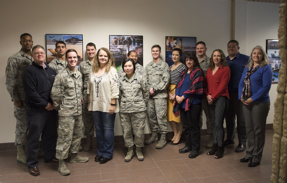 Image of Members of the 366th Contracting Squadron pose for a group photo January 23, 2018, at Mountain Home Air Force Base, Idaho. The squadron's cost-saving initatives helped one Air Force agency save more than one billion dollars three years ahead of schedule.