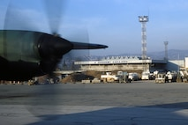 C-130 aircraft transit Sarajevo airport during Operation Provide Promise.