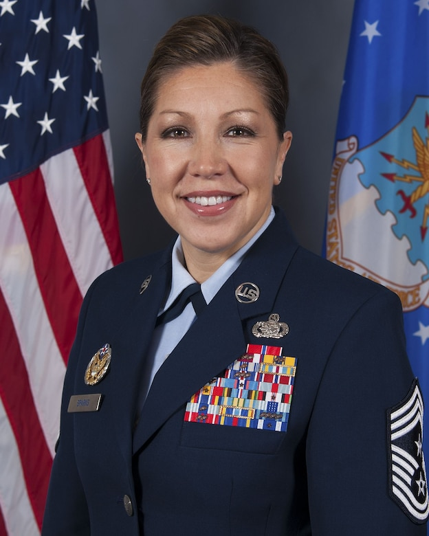 U.S. Air Force Chief Master Sgt. Sarah A. Sparks, command chief of the 6th Air Mobility Wing, poses for a photo at MacDill Air Force Base, Fla., Jan. 12, 2018. Sparks is the new command chief and arrived at MacDill in early January. (U.S. Air Force photo by Airman 1st Class Ashley Perdue)