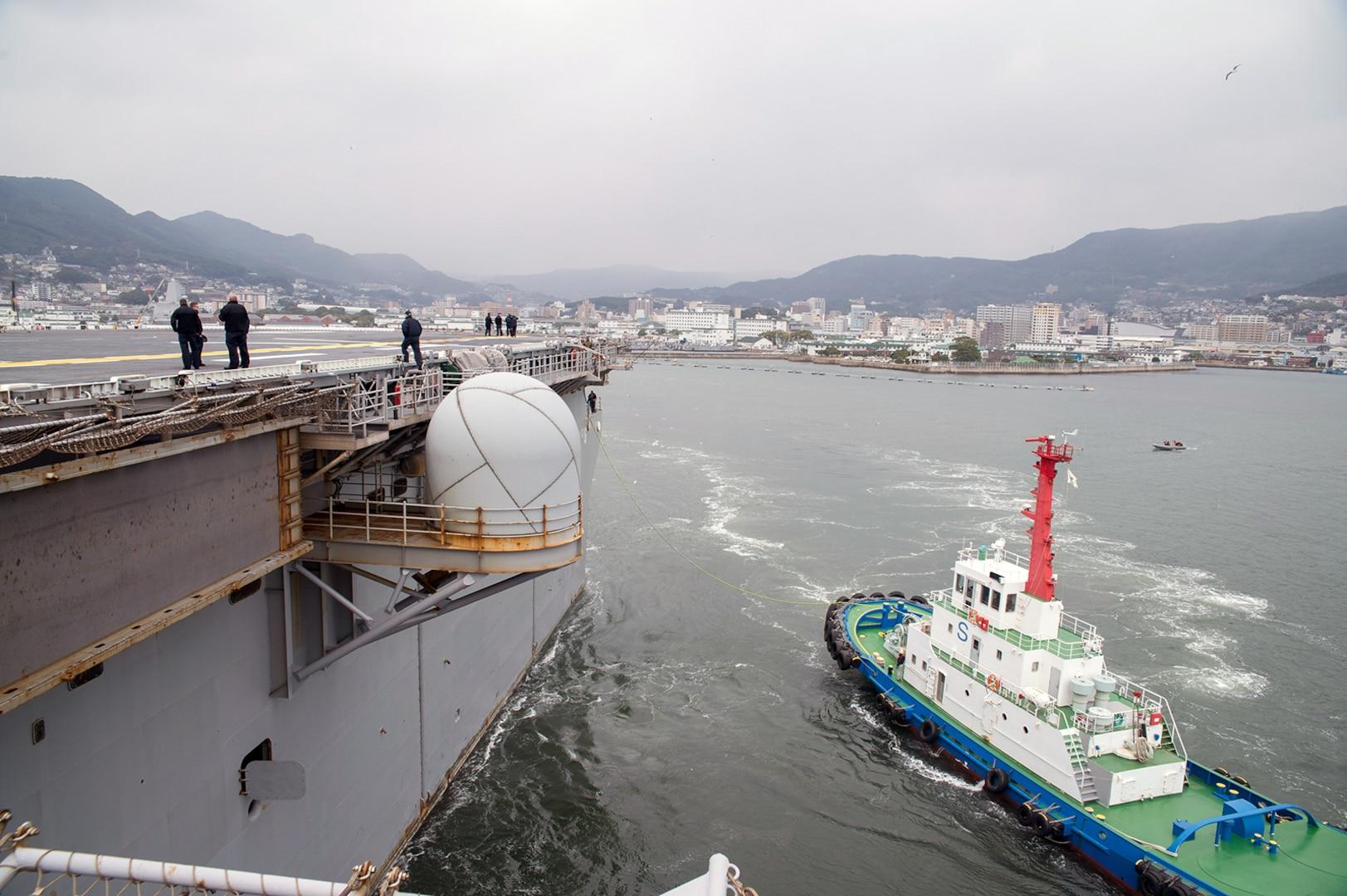 USS Bonhomme Richard (LHD 6) departs Sasebo