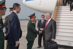 Defense Secretary James N. Mattis arrives in Hanoi, Vietnam.