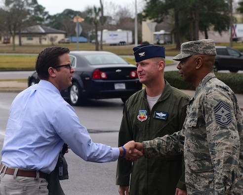 Florida Lt. Gov. Carlos Lopez-Cantera meets Col. Brian Laidlaw, 325th Fighter Wing vice commander, and CMSgt Craig Williams, 325th FW command chief, at Tyndall Air Force Base, Fla., Jan. 10, 2018. Lopez-Cantera visited Tyndall to learn about the 325th Fighter Wing mission and to be briefed on the critical skills and assets the 325th FW can bring to the air dominance theater. (U.S. Air Force photo by Senior Airman Cody R. Miller/Released)