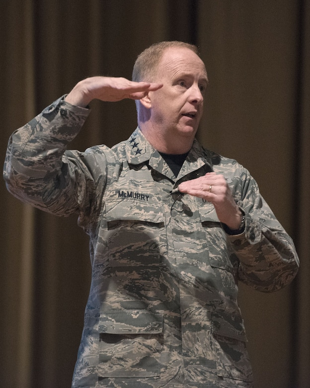 Lt. Gen. Robert D. McMurry, Air Force Life Cycle Management Center commander, talks to his Airmen Jan. 19, 2018, during a commander's call in the Wright-Patterson Air Force Base, Ohio, Theater. (U.S. Air Force photo by R.J. Oriez)