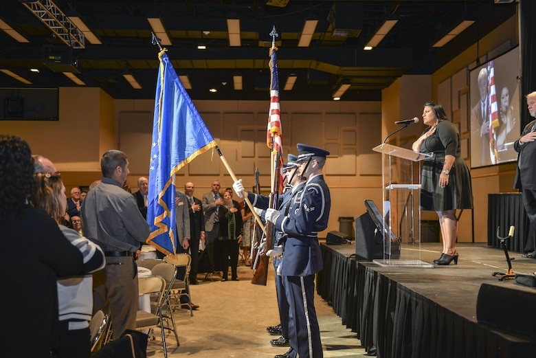 Goodfellow Honor Guard posts the colors during the singing of the national anthem at the Chamber of Commerce Annual Awards Banquet held at the McNease Convention Center, San Angelo, Texas, Jan. 23. 2018. The banquet provided a year in review and honored local community members. (U.S. Air Force photo by Aryn Lockhart/Released)