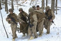 Marines with Weapons Company, 1st Battalion, 24th Marines, 25th Marine Regiment, 4th Marine Division, conduct medical evacuation techniques during the final exercise of Nordic Frost on Camp Ethan Allen Training Site in Jericho, Vt., Jan. 22, 2018. The goal of Nordic Frost was to improve the unit's environmental capabilities by giving them an introduction to cold weather training and testing their squad and fire team level defensive proficiency in an austere environment (U.S. Marine Corps photo by Pfc. Samantha Schwoch/released)