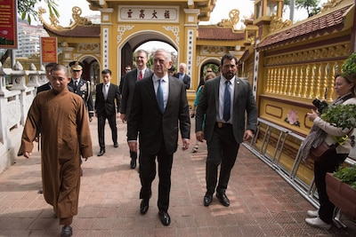 Defense Secretary James N. Mattis tours the Trấn Quốc Pagoda in Vietnam.