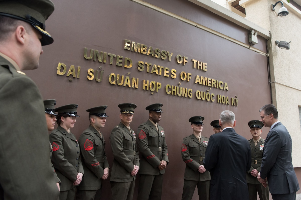 Defense Secretary James N. Mattis speaks with Marines in Vietnam.