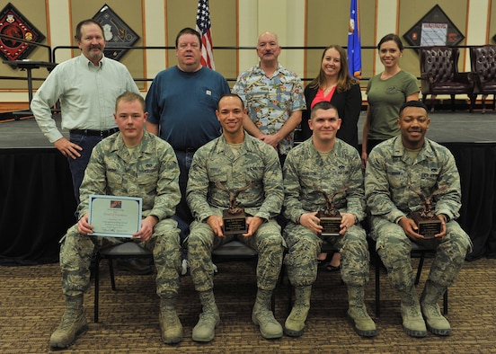 Winners of the fourth quarter Wing Quarterly Awards pose for a photo at the Grizzly Bend Jan. 24, 2018, at Malmstrom Air Force Base, Mont. Pictured from left to right in the back row: Kenneth Sylva, 341st Mission Support Group, Civilian Category II Supervisor of the Quarter; Kenneth Sanders, 341st MSG, Civilian Category I Supervisor of the Quarter; Michael Hryszko, 341st Medical Group, Volunteer of the Quarter; Brittany Vallejo, 341 Maintenance Group, Spouse of the Quarter; and Shanna Guillen, 341st MXG, Civilian Category I of the Quarter. Front row: Airman 1st Class Brandon Cummings, representing Dorm 742, Dormitory of the Quarter; Airman 1st Class Eric Sprouse, 341st MDG, Airman of the Quarter; Tech. Sgt. Geoffrey Hamilton, 341st Operations Group, Noncommissioned Officer of the Quarter; and 2nd Lt. Kalon Baker, 341st MXG, Company Grade Officer of the Quarter. Other winners not pictured were Airman 1st Class Katy Wagge, 341st Security Forces Group, Dorm Room of the Quarter; Airman 1st Class Vincent DeConto, 341st SFG, Honor Guard of the Quarter; Master Sgt. Tiffany Sargent, 341st MSG, Senior NCO of the Quarter; and Maj. William Gripp, 341st SFG, Field Grade Officer of the Quarter. The 341st Missile Maintenance Squadron Missile Communications Section was the Professional Team of the Quarter. (U.S. Air Force photo by John Turner)