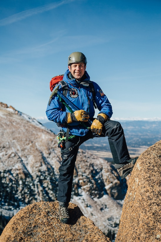 Lt. Col. Robert Marshall, Center for Character and Leadership Develop director for experiential education programs and honor education, poses for a photo during one of his many mountaineering expeditions. Marshall is a world-class mountaineer, having led climbs of the highest peak on each continent, including Mt. Everest. (Photo by Ryan Hall)
