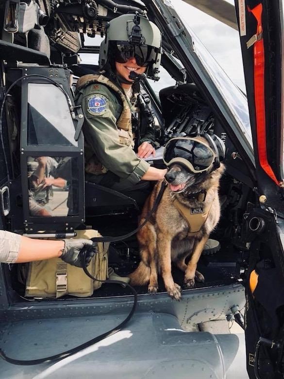 Citizen Airmen Reservists Maj. Mary Minshew, HH-60G Pave Hawk pilot, and a team of Citizen Airmen Reserve aircrew from the 920th Rescue Wing's 301st Rescue Squadron, train with Beta the Belgium malinois,
