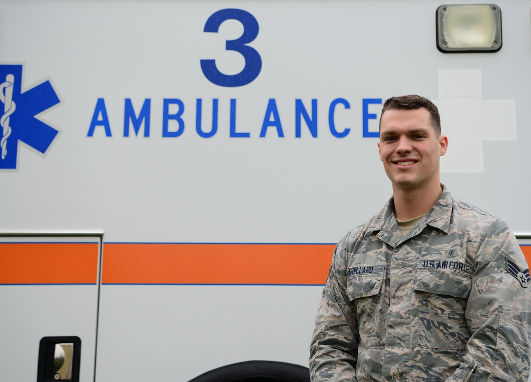 Senior Airman Ethan Stallard, 9th Medical Operations Squadron aerospace medical technician, poses for a photo