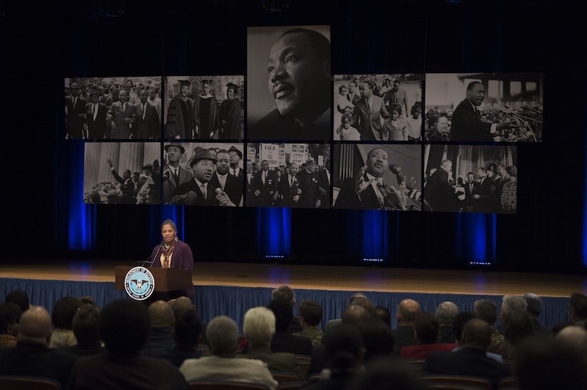 Retired Army Maj. Gen. Marcia M. Anderson speaks at the Defense Department's 34th annual Martin Luther King Jr. observance.
