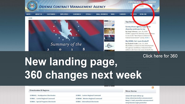 "Starting Feb. 1, Internet Explorer on a Defense Contract Management Agency computer will automatically open to the agency's public website, www.dcma.mil. From here, employees can click on ""DCMA 360"" on the upper right navigation bar to reach the 360 homepage. (DCMA graphic)"