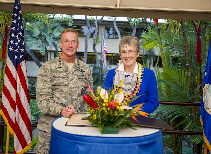 Secretary of the Air Force Heather Wilson poses with Pacific Air Forces (PACAF) Commander Gen. Terrence O'Shaughnessy following a theater overview briefing at PACAF headquarters, Joint Base Pearl Harbor-Hickam, Hawaii, Jan. 23, 2018.