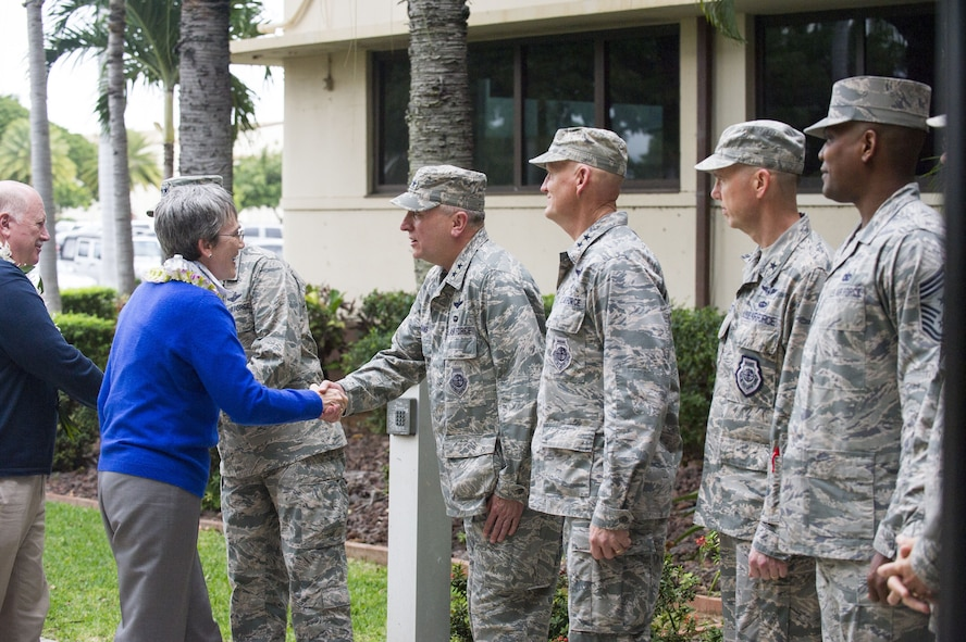 Secretary of the Air Force Heather Wilson and her husband, Jay Hone, greet members of Pacific Air Forces (PACAF) leadership upon their arrival to the PACAF headquarters building at Joint Base Pearl Harbor-Hickam, Hawaii Jan. 23, 2018.