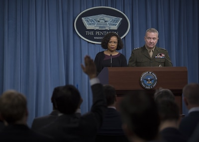 Dana White, chief Pentagon spokesperson, and Marine Corps Lt. Gen. Kenneth F. McKenzie Jr., the Joint Staff director, brief reporters at the Pentagon.