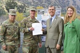 From left to right, Lt. Gen. Todd Semonite, commanding general of U.S. Army Corps of Engineers; Col. Kirk Gibbs, commander of the U.S. Army Corps of Engineers Los Angeles District; Gary Lee Moore, Los Angeles city engineer; and Carol Armstrong, executive officer to the Los Angeles Deputy Mayor of City Services, pose for a picture Jan. 19 after Corps of Engineers leaders presented a signed design agreement with the city to move forward with the Los Angeles River Ecosystem Restoration project.