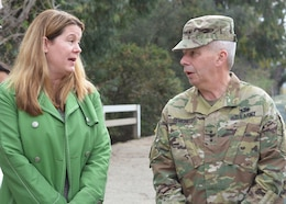 Carol Armstrong, executive officer to the Los Angeles Deputy Mayor of City Services, left, and Lt. Gen. Todd Semonite, commanding general of the U.S. Army Corps of Engineers, right, discuss the Los Angeles River Ecosystem Restoration project during a Jan. 19 site visit.