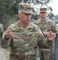 Lt. Gen. Todd Semonite, commanding general of the U.S. Army Corps of Engineers, asks a question about the LA River Ecosystem Restoration project during a Jan. 19 site visit.