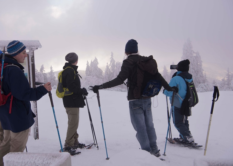 Team Ramstein members snowshoe to the top of a mountain in the Black Forest, Sasbachwalden, Germany, Jan. 21, 2018. The 86th FSS ODR plans to offer more snowshoe hikes in February, along with other opportunities such as a kayak skills clinic and rock climbing. (U.S. Air Force photo by Senior Airman Elizabeth Baker)
