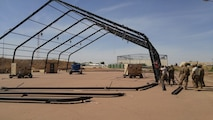 Airmen from the 635th Material Maintenance Squadron, Holloman Air Force Base, New Mexico, deployed to N'Djamena on Jan. 7, 2018 to assist the Chadian Air Force to erect aircraft maintenance shelters and training for their critical aircraft. The effort was initiated due to a large-scale wind storm last summer that destroyed many aircraft and maintenance shelters located in the main airfield in N'Djamena. (Courtesy Photo)