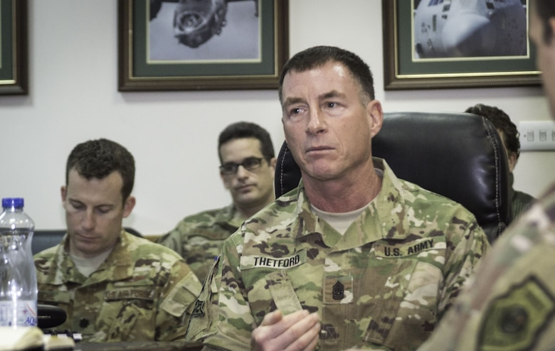 Command Sgt. Maj. William Thetford, U.S. Central Command's senior enlisted leader, updates the 386th Air Expeditionary Wing leadership Jan. 23, 2018, during a staff meeting at an undisclosed location in Southwest Asia.