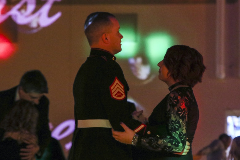 U.S. Marine Staff Sgt. Brian D. Raney and Raven Campbell dance at St. Mark's United Methodist Church, Murfreesboro, Tennessee, on Jan. 20, 2018. Raney stepped in as the father figure for the father-daughter dance. Raney is a recruiter currently stationed with Recruiting Station Nashville, 6th Marine Corps District, Eastern Recruiting Region, Marine Corps Recruiting Command. (U.S. Marines photo by Sgt. Mandaline Hatch)