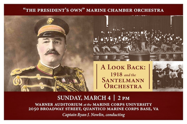 Marine Chamber Orchestra concert Sunday, March 4 at 2 p.m. The performance is free and open to the public and will take place in Warner Auditorium at the Marine Corps University on Quantico Marine Corps Base, Va.