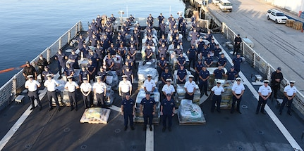The crew of the Coast Guard Cutter Stratton pose for a group photo.