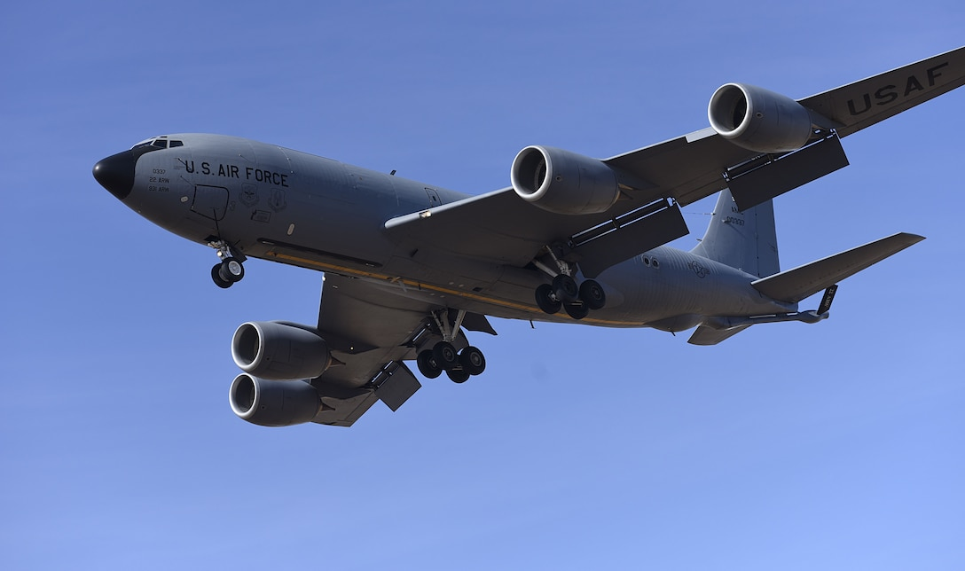 A KC-135 Stratotanker descends before landing at McConnell Air Force Base, Kan., Jan. 18, 2018. Air Mobility Command's tanker fleet, which is primarily made up of KC-135s, offloaded 1.18 billion pounds of fuel to U.S. and allied aircraft in 2017. (U.S. Air Force photo by Airman 1st Class Erin McClellan)