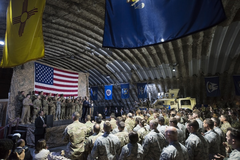 U.S. Vice President Mike Pence speaks to a crowd of deployed service members assigned to the 332d Air Expeditionary Wing January 21, 2018 at an undisclosed location in Southwest Asia. During his speech, Pence praised the wing's continued dedication to the production of unrivaled airpower and reaffirmed the administration's efforts to end the current government shutdown. (U.S. Air Force photo by Staff Sgt. Joshua Kleinholz)