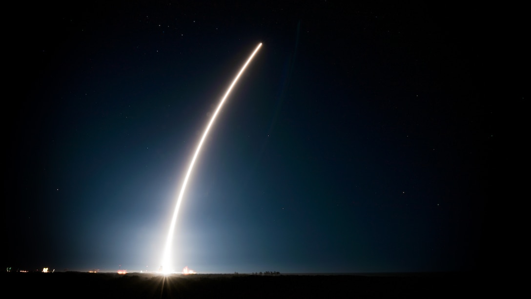 An Atlas V rocket carrying the Space Based Infrared System GEO Flight 4 satellite lifts off from Cape Canaveral Air Force Station, Fla., Jan. 19, 2018. The SBIRS program delivers timely, reliable and accurate missile-warning and infrared surveillance information to the president, the secretary of defense, combatant commanders, the intelligence community and other key decision makers. (U.S. Air Force illustration by Airman 1st Class Dalton Williams)