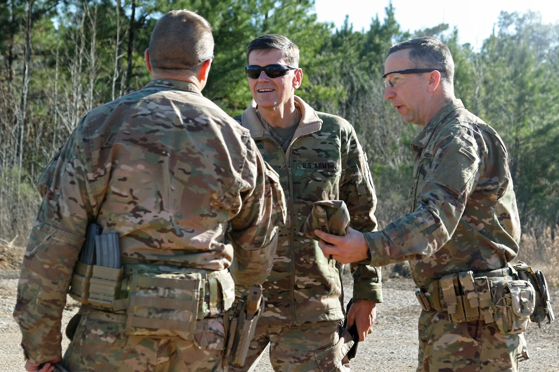 Gen. Joseph L. Votel [center], commander of the United States Central Command, greets Col. Scott Jackson [right] and Command Sgt. Maj. Christopher D. Gunn [left], the command team for the 1st Security Force Assistance Brigade at the Joint Readiness Training Center at Fort Polk, La., Jan. 18, 2018. Votel visited for an internal brief prior to 1st SFAB's upcoming deployment to Afghanistan in the spring of 2018. SFABs are being developed and deployed as a solution to an enduring Army requirement in support of the defense strategy. (U.S. Army photo by Pfc. Zoe Garbarino/Released)