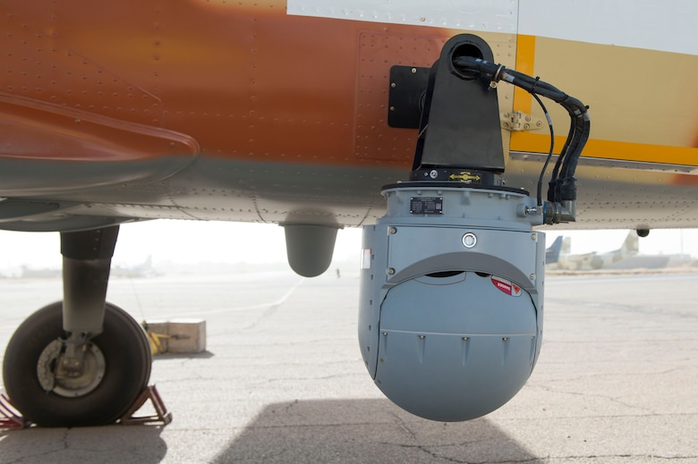 An MX-15 camera is mounted on a C-208 aircraft parked at Adjikossei Air Base, N'Djamena, Chad, January 17, 2018.