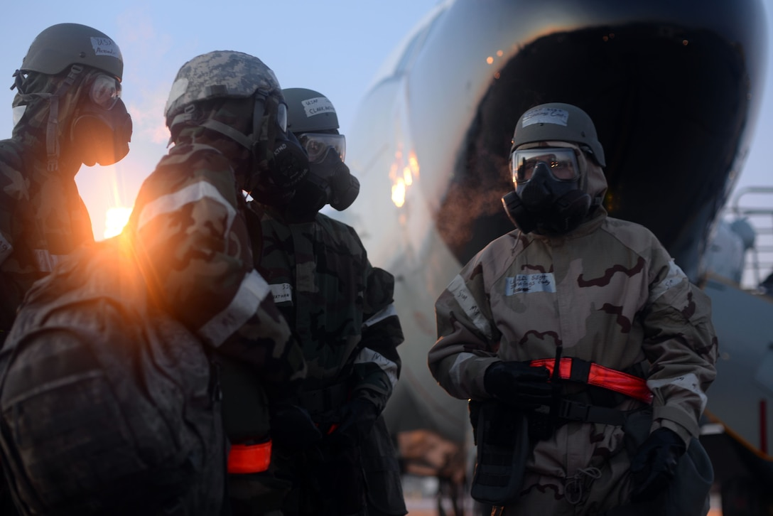 Members of the 55th Wing begin a post attack reconnaissance sweep of the flight line during an operational readiness exercise (ORE) at Offutt Air Force Base, Nebraska, Jan. 24, 2018. OREs are exercises directed at honing combat readiness, and allow Airmen to receive deployment-like experiences at their home station.