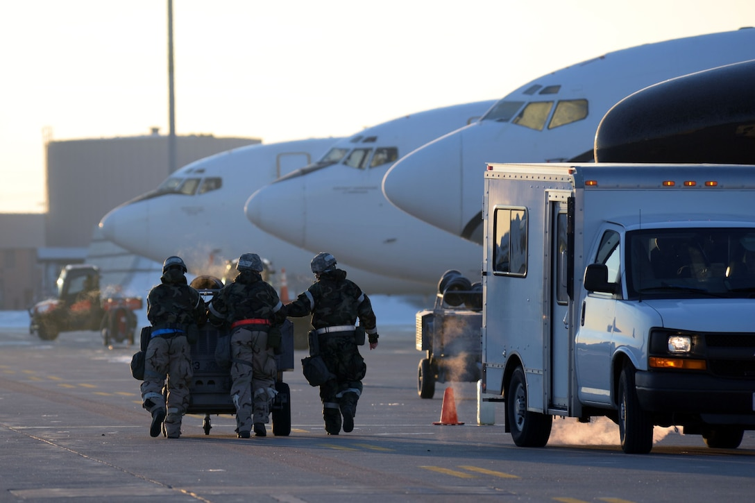 Members of the 55th Wing conduct an operational readiness exercise (ORE) at Offutt Air Force Base, Nebraska, Jan. 24, 2018. OREs are exercises directed at honing combat readiness, and allow Airmen to receive deployment-like experiences at their home station.