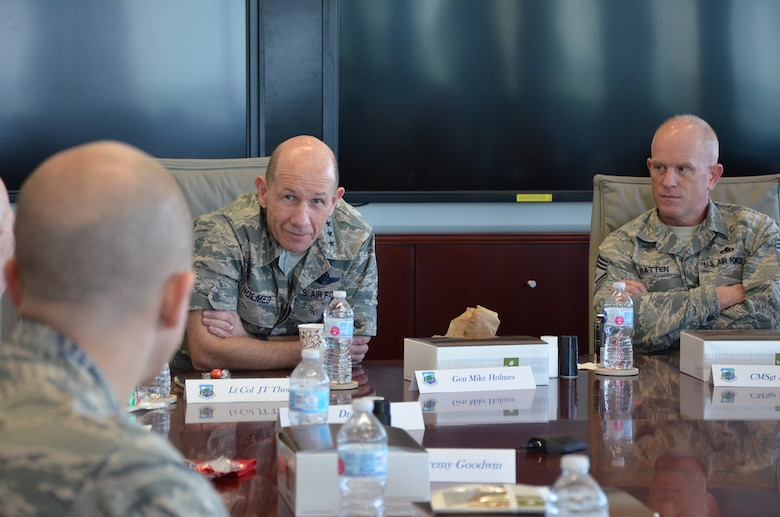 Gen. Mike Holmes, commander of Air Combat Command, and Chief Master Sgt. Frank Batten, ACC command chief, met with members of the Air Force Technical Applications Center Jan. 24, 2018, to learn more about their global nuclear treaty monitoring mission.  Pictured here, Holmes and Batten conduct a round-table discussion with AFTAC's squadron commanders and division chiefs.  (U.S. Air Force photo by Susan A. Romano)