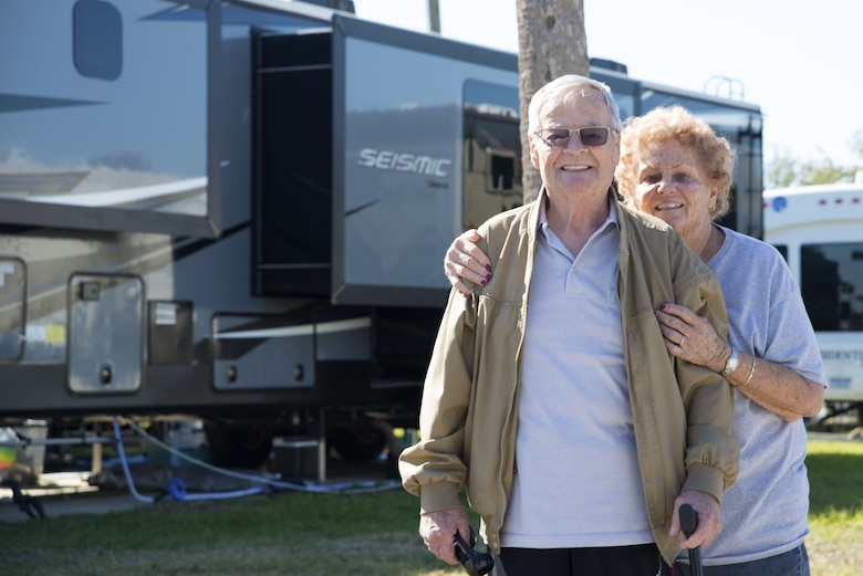 Robert and Verna Cuthrell, retirees currently residing in the family campgrounds at MacDill Air Force Base, pause for a photo at MacDill AFB, Florida, Jan. 24, 2018.