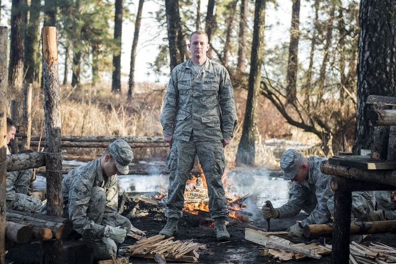 Staff Sgt. Joseph St Pierre, 66th Training Squadron Survival, Evasion, Resistance and Escape Specialist technical training instructor, poses for a photo Jan. 19, 2018, at Fairchild Air Force Base, Wash. St Pierre works to train and influence the future generations of SERE specialists. He was selected as one of Fairchild's Finest, a recognition program that highlights top-performing Airmen. (U.S. Air Force photo/Airman Whitney Laine)