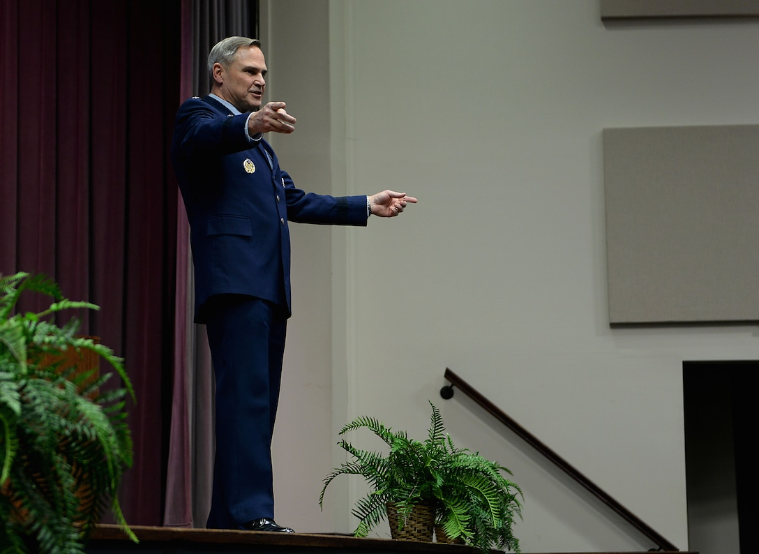 Lt. Gen. Mark Nowland, Deputy Chief of Staff for Operations, Headquarters U.S. Air Force, Washington, D.C, speaks at Specialized Undergraduate Pilot Training Class 18-04's graduation Jan, 19, 2018, on Columbus Air Force Base, Mississippi. Nowland gave every pilot statistics on the aircraft they would be learning how to fly, and he recognized the impact that each of them had together. He spoke about the refueling airframes, the cargo airframes, bombers, fighters and remotely piloted aircraft. (U.S. Air Force photo by Airman 1st Class Keith Holcomb)