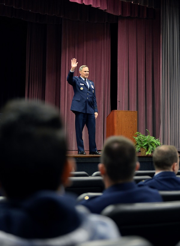 Lt. Gen. Mark Nowland, Deputy Chief of Staff for Operations, Headquarters U.S. Air Force, Washington, D.C, speaks at Specialized Undergraduate Pilot Training Class 18-04's graduation Jan, 19, 2018, on Columbus Air Force Base, Mississippi. Everybody in this team is supporting one another, Nowland told the students during his speech. Everyone will continue to contribute and will fly, fight and win for the United States. (U.S. Air Force photo by Airman 1st Class Keith Holcomb)