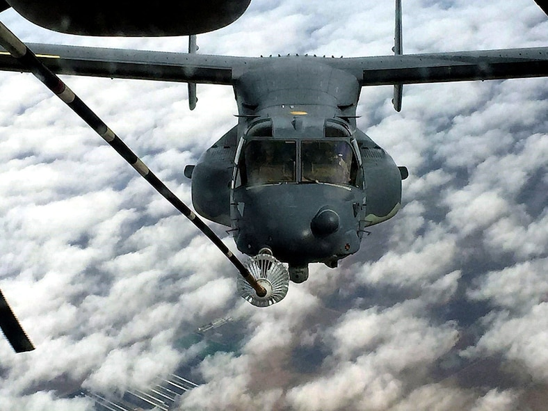 In a rare opportunity, the 79th Air Refueling Squadron, Travis AFB, Calif., refueled two CV-22 Ospreys during a routine training mission near Fresno, January 15, 2018.