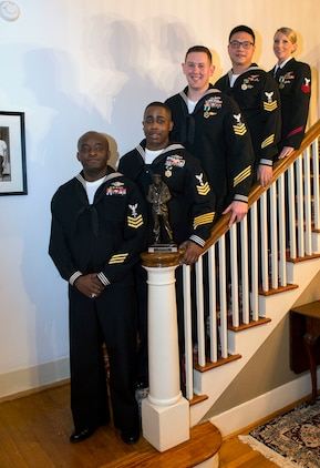 Fiscal Year 2017 Navy Reserve Full Time Support Shore Sailor of Year finalists (left to right) Hospital Corpsman 1st Class Cedrick Jenkins, Commander, 4th Marine Division, Marine Forces Reserve; Personnel Specialist 1st Class Darvell Connell, Navy Operational Support Center Houston; Information Systems Technician 1st Class Steven Mahon, Commander, Navy Reserve Forces Command; Logistic Specialist 1st Class Billy Yao, Navy Region Mid-Atlantic Reserve Component Command; and Logistic Specialist 1st Class Amy Simon, Navy Region Northwest Reserve Component Command, pose for a photo during a ceremony held at the Maryland House on Naval Station Norfolk Jan. 11. Jenkins will go on to compete for the title of 2017 Vice Chief of Naval Operations (Naval Shore Activities) SOY. (U.S. Navy photo by Mass Communication Specialist 2nd Class Sean Rinner)
