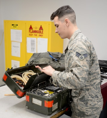 U.S. Air Force Senior Airman Cayce Kaminski, 20th Component Maintenance Squadron (CMS) electrical and environmental systems specialist, performs accountability at Shaw Air Force Base, S.C., Jan. 22, 2018.